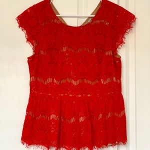 ⚡️Anthropologie⚡️ Katrine Reddish Orange Lace Top
